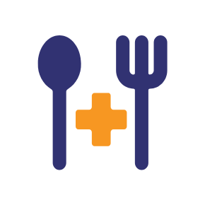 Graphic of spoon fork and medical cross