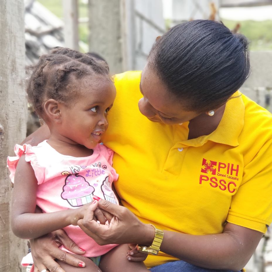 Nurse Esther Mahotiere makes a home visit to 2-year-old Senia Nard, a malnutrition patient in Mirebalais, Haiti.