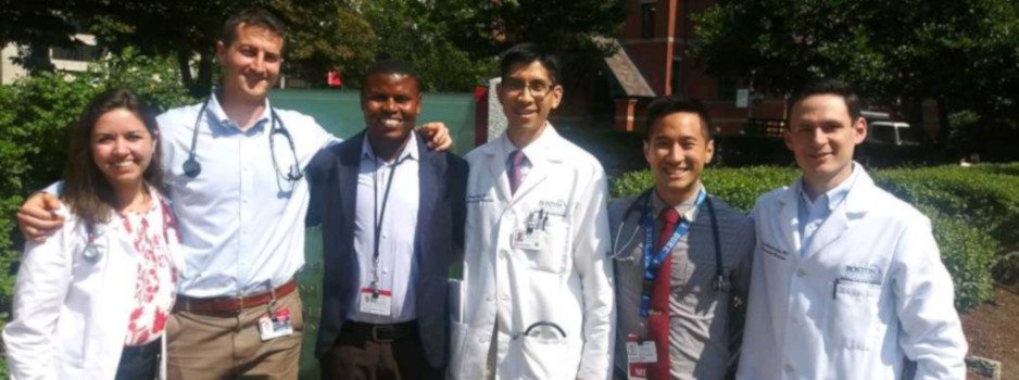 Erneste Simpunga, Dr. Gene Kwan and others at Boston University's School of Medicine