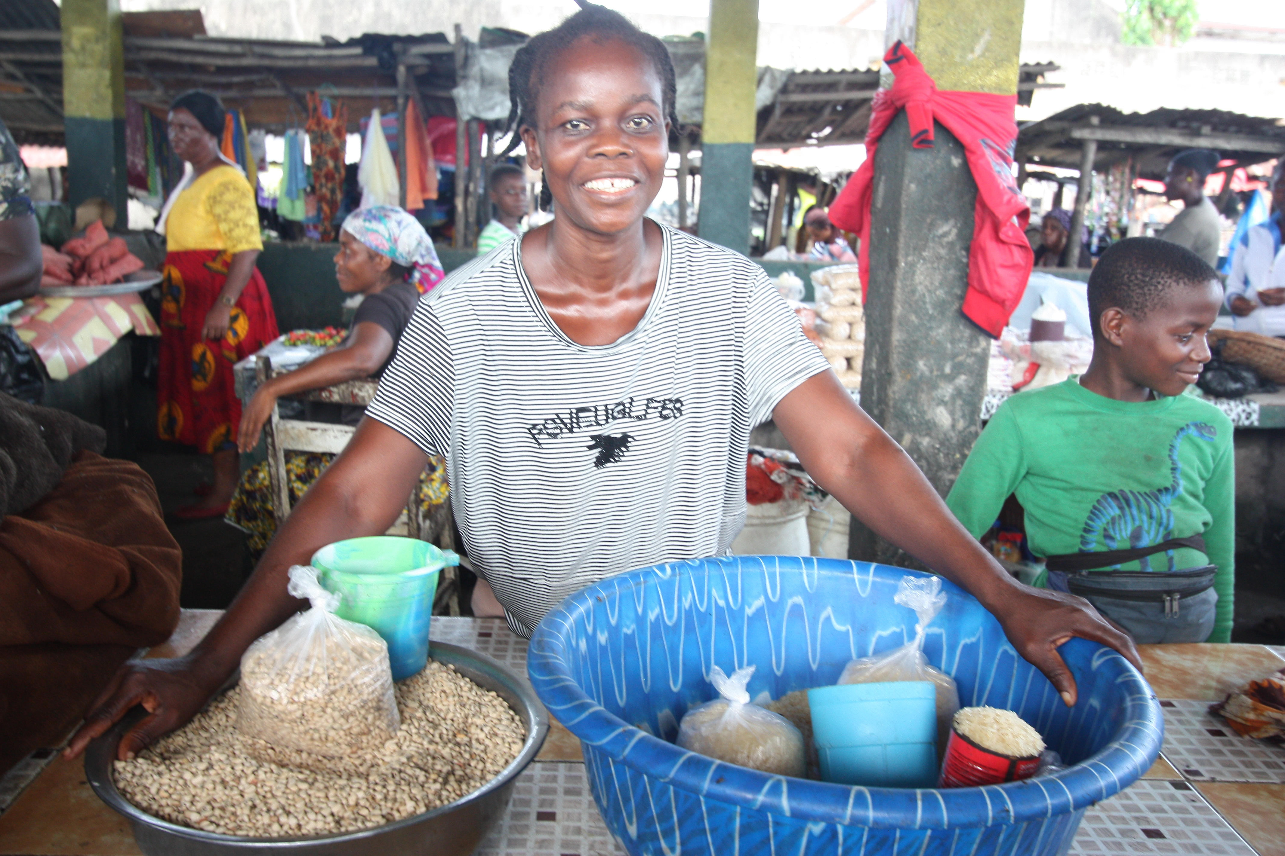 woman selling rice in market in Liberia