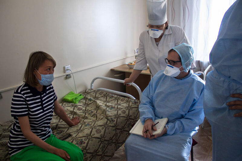 tuberculosis patient is examined by doctors in Kazakhstan