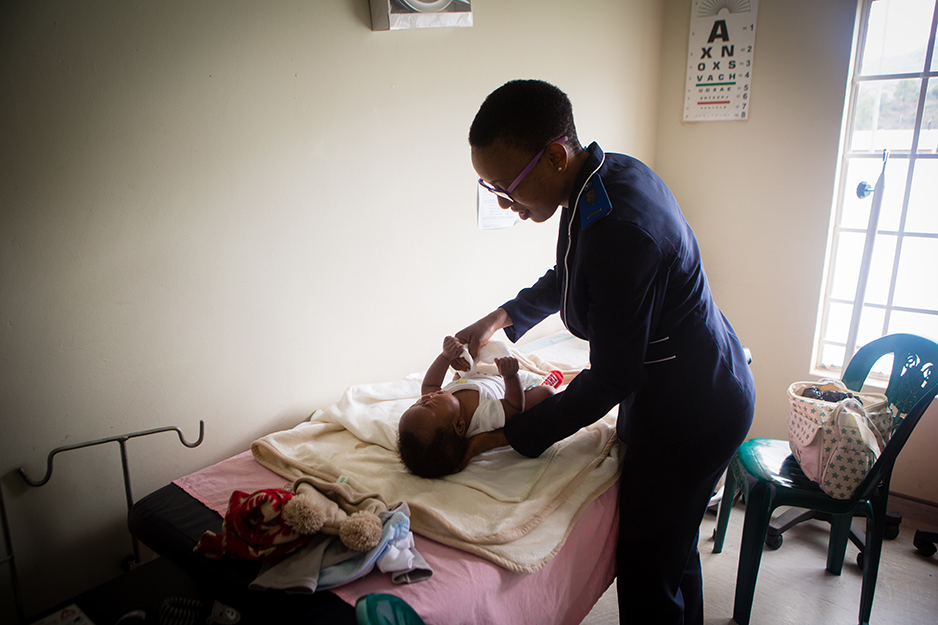 His check-up was conducted by Mamakama Mofolo, registered nurse midwife.