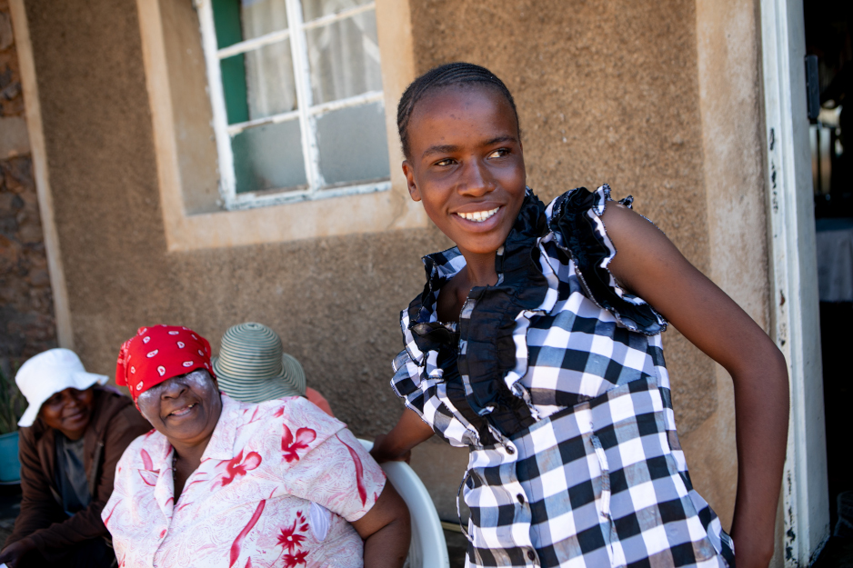 Pulane Matsuma, 14, with her grandmother and her treatment supporter
