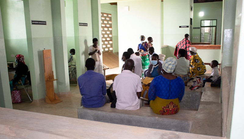 Patients in the waiting area of PIH's new integrated care facility in Malawi