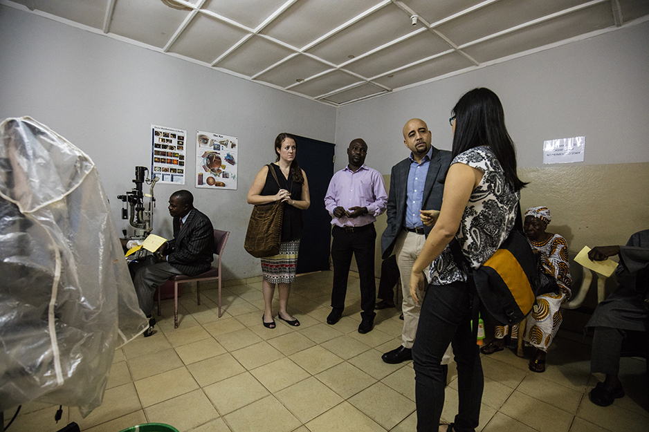 consulting on an eye care appointment in Sierra Leone during the Ebola epidemic