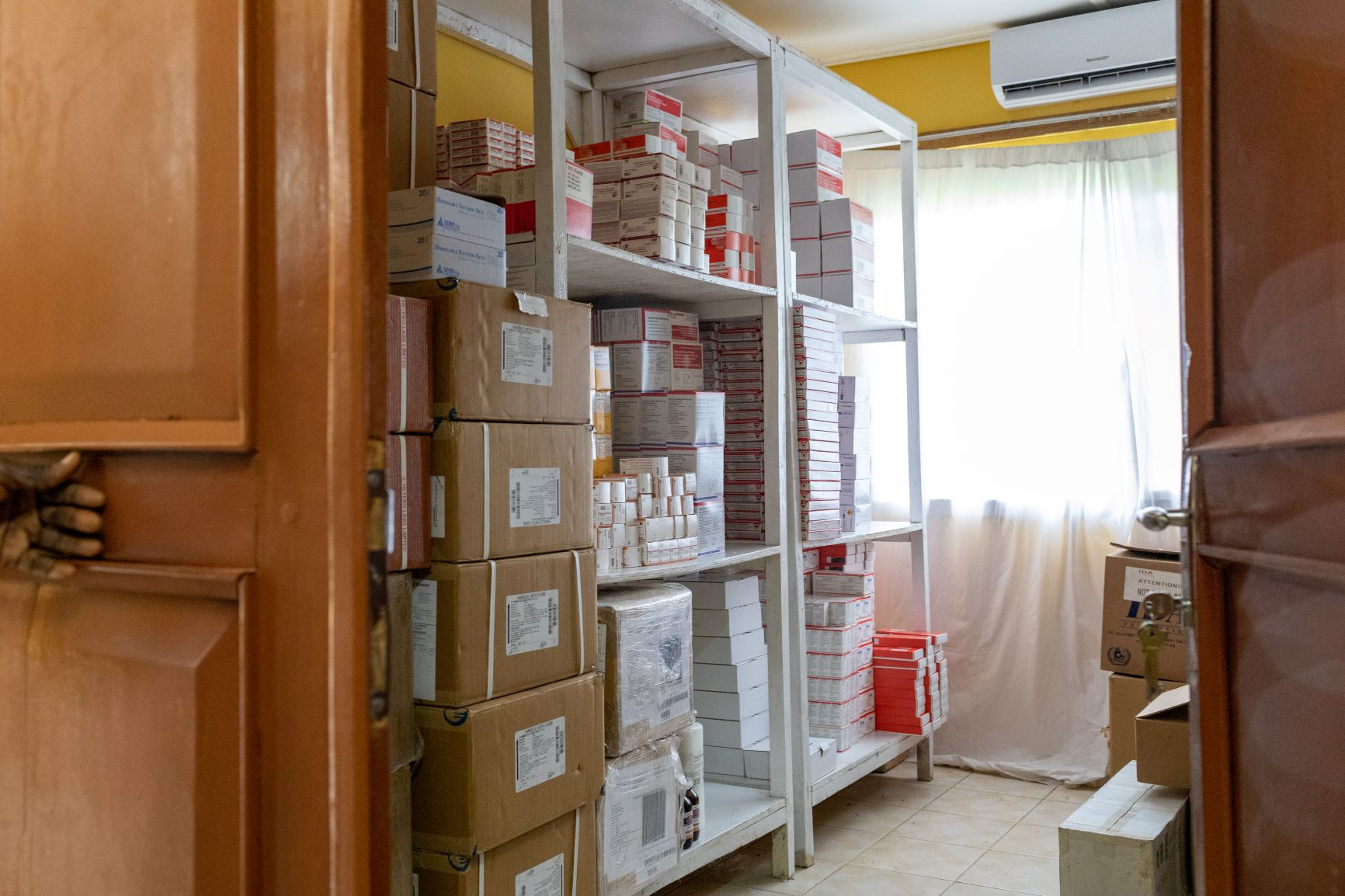Lakka Hospital's pharmacy, stocked with help from PIH