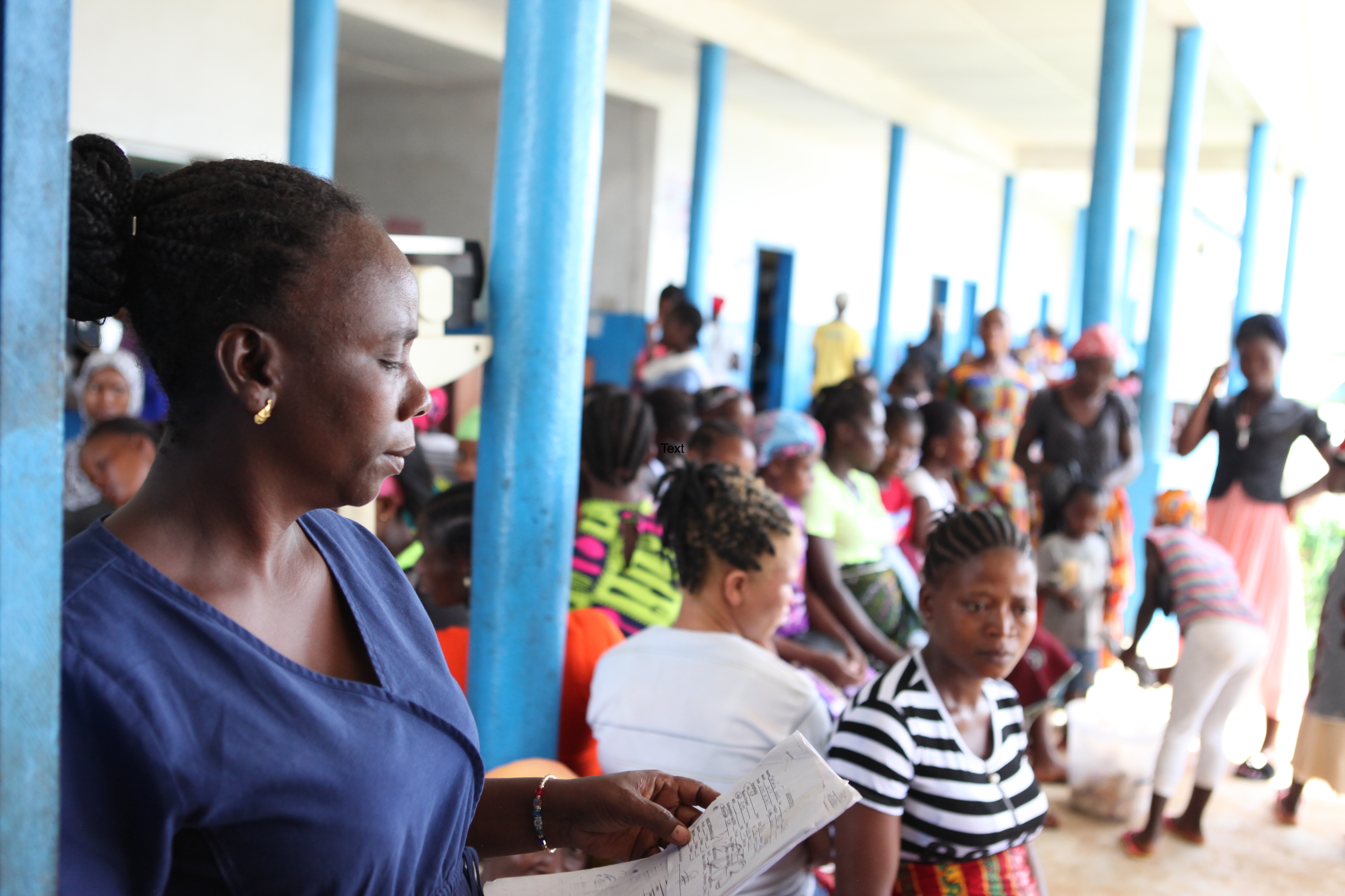 women await prenatal appointments at Pleebo Health Center in Liberia