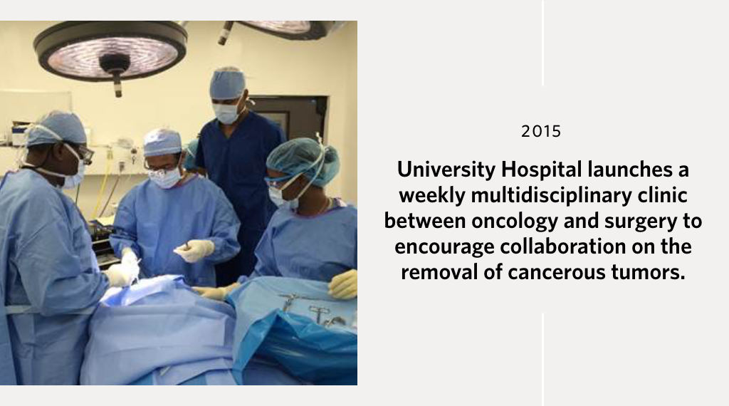 University Hospital launches a weekly multidisciplinary clinic between oncology and surgery to encourage collaboration on the removal of cancerous tumors.