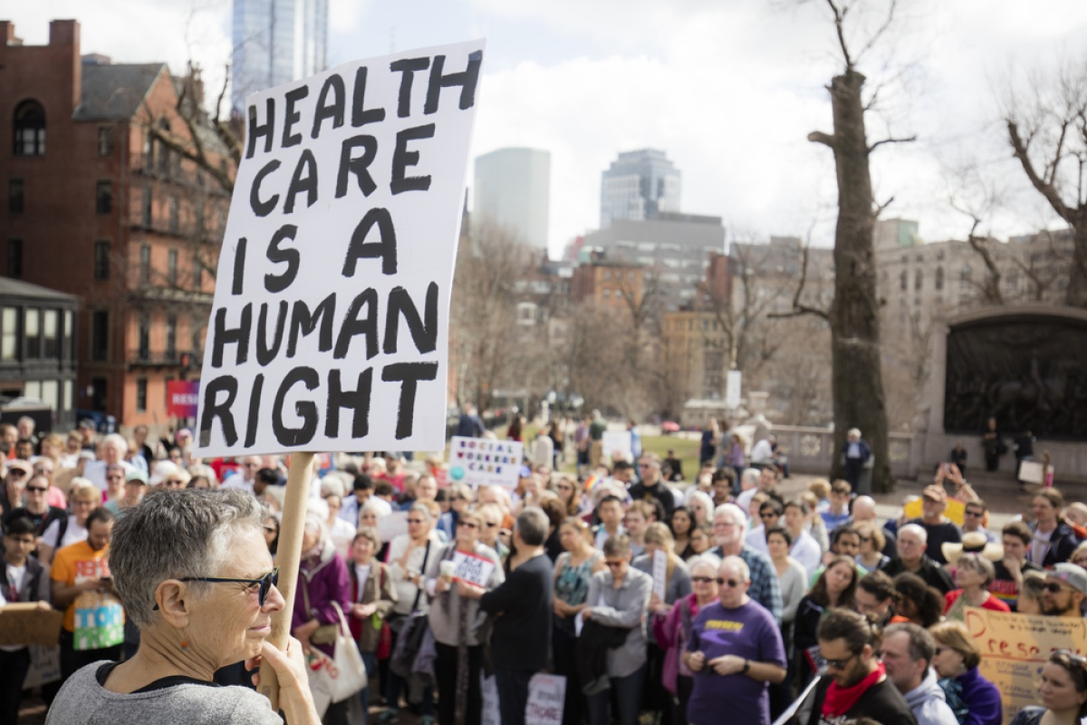 rally in support of universal health care in Boston