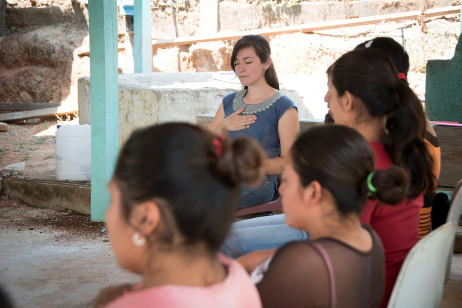guided meditation practice at clinic in rural Chiapas, Mexico