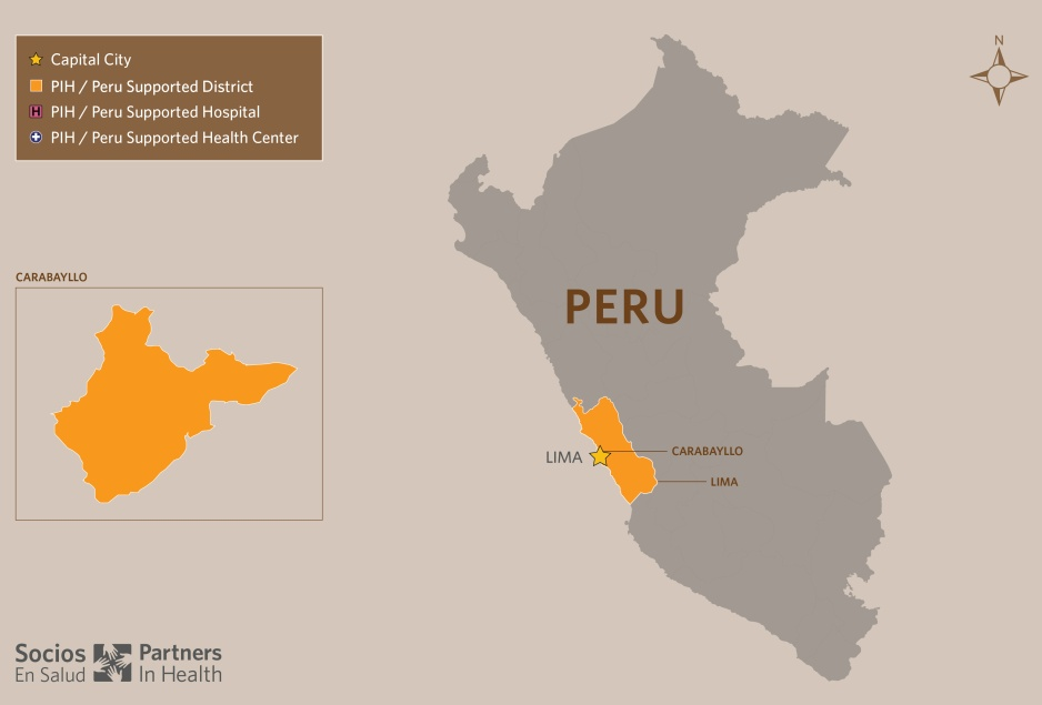 A map of Peru with cutouts of PIH-supported clinics.