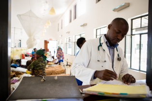 Dr. Cyprien Shyirambere in the oncology ward at Butaro District Hospital
