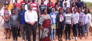 Dean Abebe Bekele, front center, with Dr. Agnes Binagwaho and the 30 medical students at UGHE in Rwanda