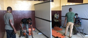 PIH Liberia and government partners set up a COVID-19 quarantine center in Harper